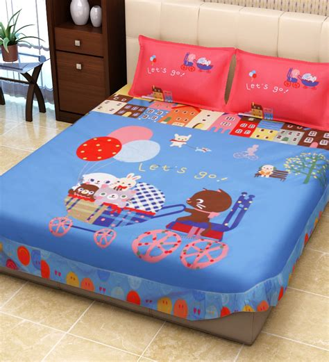 double bed sheets sej 3d colours kids double bed sheet with two pillow