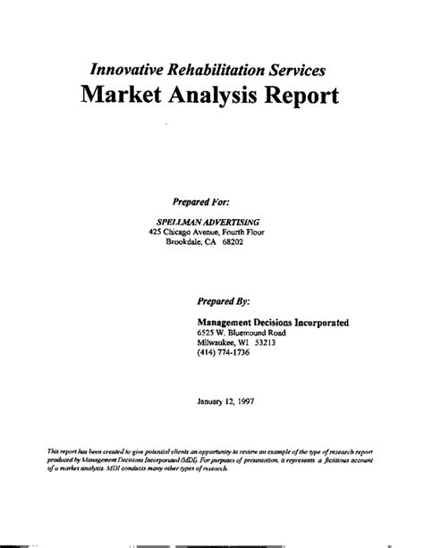 marketing research report sle market analysis report exle research management