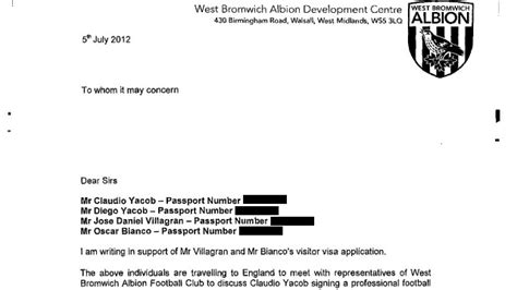 Official Transfer Request Letter Football Fa And West Brom Embroiled In Claudio Yacob