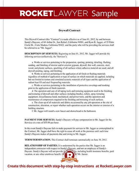 Drywall Bid Template Drywall Contract Agreement With Sle