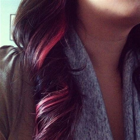 pink streaks in hair 9 best images about highlights on pinterest brown hair