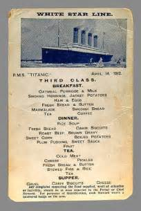 titanic menu first class second class auction of last