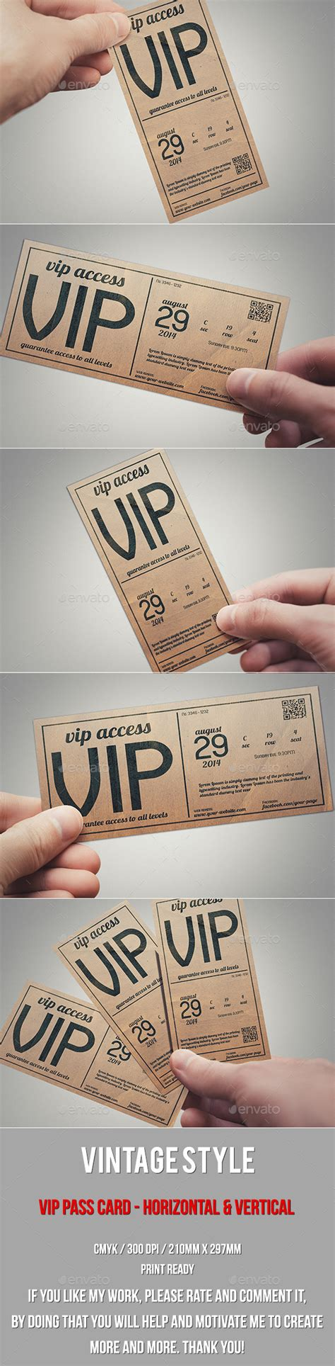 pass card template vintage style vip pass card by tzochko graphicriver