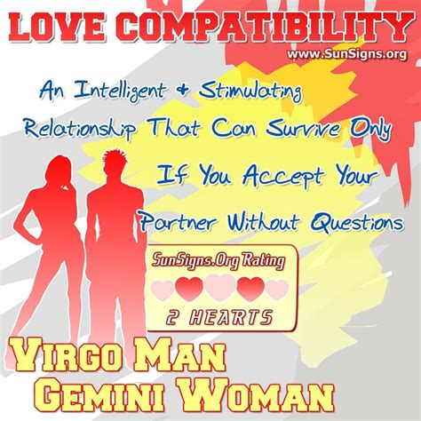 virgo man and gemini woman love compatibility sun signs