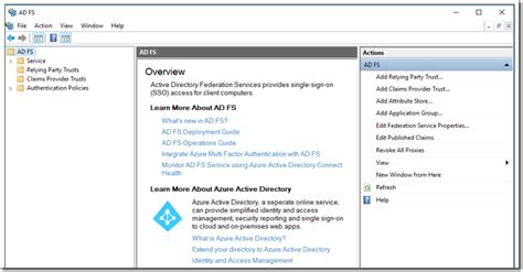 active directory console active directory federation services in windows server
