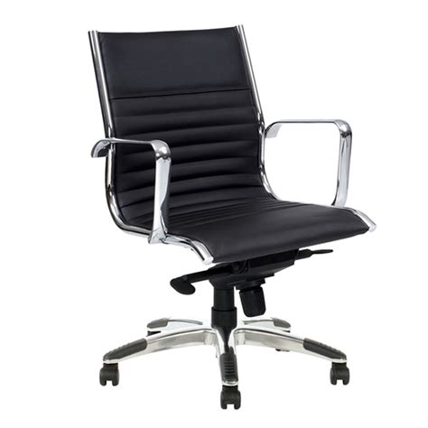 atlantic medium back chair black leather fast office furniture