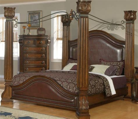 four post bedroom set low four posts bed with pillars tuscany bedroom furniture