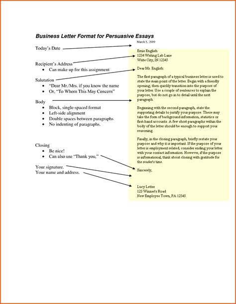 Persuasive Business Letter Assignment persuasive letter format general resumes