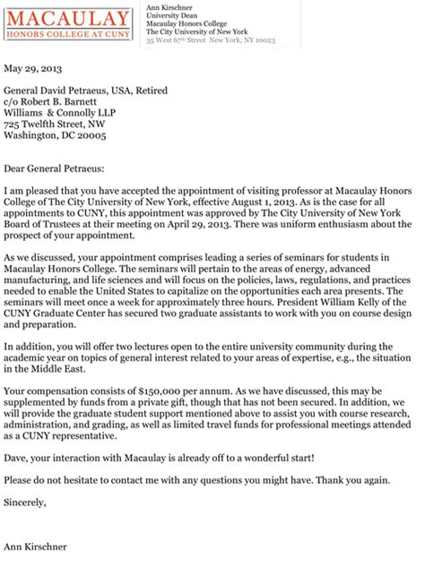 Honors College Acceptance Letter Background Information On Visiting Professor Petraeus Cuny Newswire