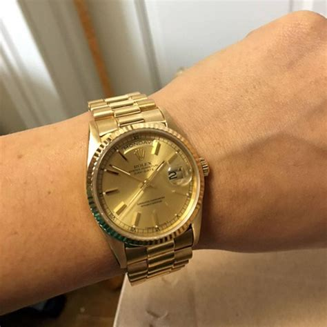 rolex yellow gold presidential day date stick