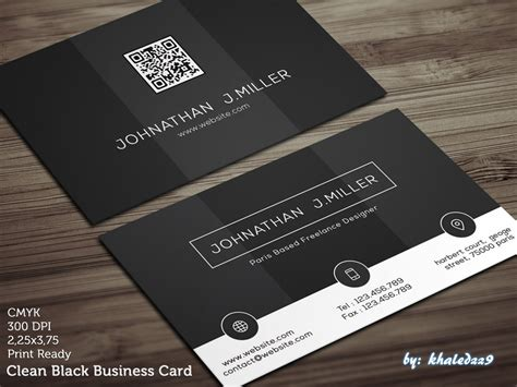 business card clean template design clean black business card by khaledzz9 on deviantart