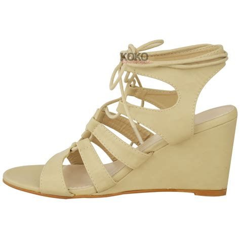 strappy lace up sandals womens strappy wedges mid high heel sandals lace up
