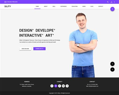 sility vcard cv resume html template 30 best resume cv html templates for personal business
