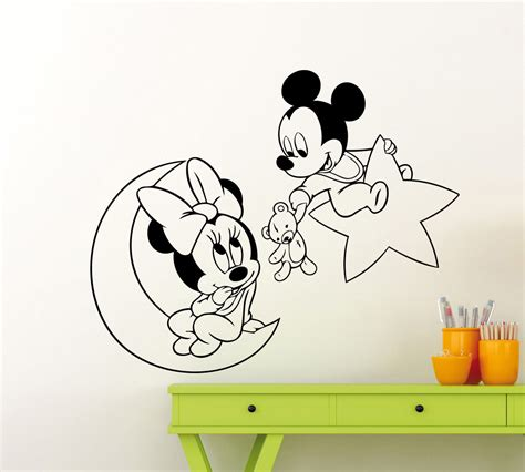 Sticker Micky Mini Mouse Dinding 1 mickey minnie mouse wall sticker lune 233 toiles jouet