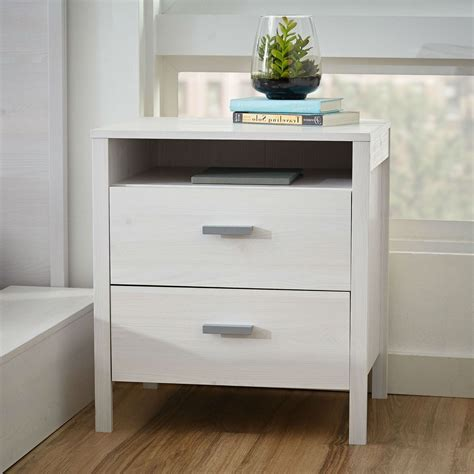 Nightstand Tables by Modern 2 Drawer Nightstand Bedside Table In Larch White