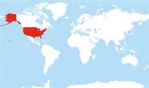 united states map with highlighted where is united states located on the world map