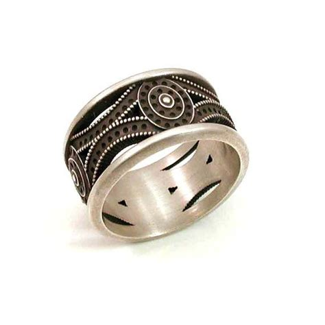 Mens Handmade Rings - mens deco ring sterling silver handmade