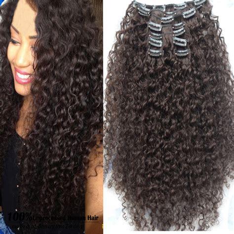 Hair Clip Big Layer Curly Hairclip Black Brown Hairclip Wig Rambut brown mongolian afro curly 9pcs clip in hair
