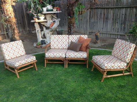 1950s bamboo patio furniture modular sectional love seat and