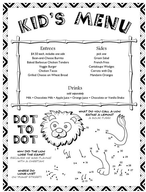 kid menu template cancel save