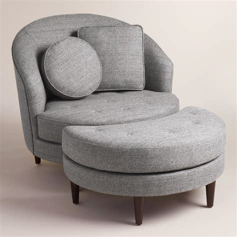 round ottoman chair gray seren round seating collection world market