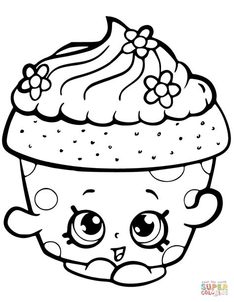 Cupcake Coloring Pages To Print by Cupcake Petal Shopkin Coloring Page Free Printable