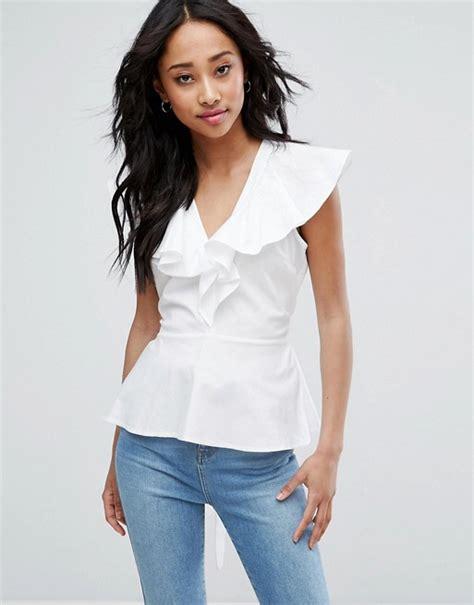 asos asos cotton blouse with ruffle front tie waist
