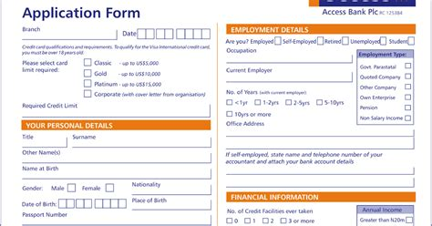 Importance Of Credit Application Form Visa Credit Card Application Form In 2013 What News 2