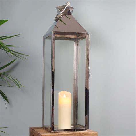 Large Silver Candle Lanterns Knightsbridge Silver Candle Lantern 77cm By Garden