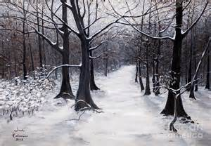 Forest Duvet Cover Forest Path In Winter Painting By Judy Kirouac