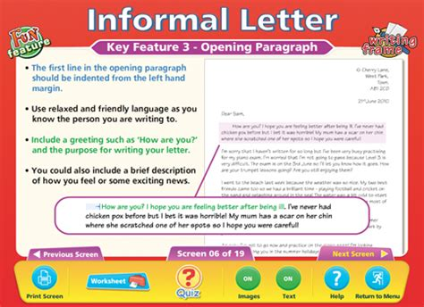 letter layout ks3 formal informal letters content classconnect