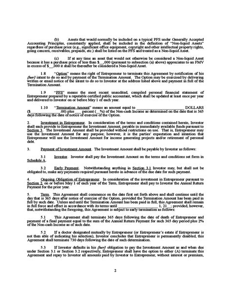 Letter Of Agreement Investment letter agreement free