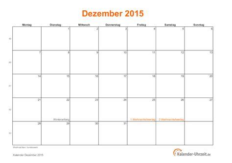 Dezember Kalender 2015 Dezember 2015 Kalender Mit Feiertagen