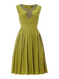 ellen tracy beaded neck pleat skirt dress in green lime