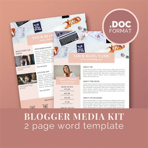 Media Kit Template Blog Marketing Kit Word Template Press Marketing Kit Template