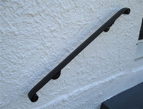 Wall Mount Handrail 10 ft wrought iron wall mount rail classical volute design interior or exterior the ironsmith