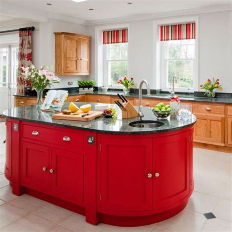 bold red island kitchen islands housetohome co uk