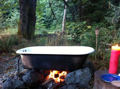 outside bathtub cast iron tub heated by fire used for gling olympic