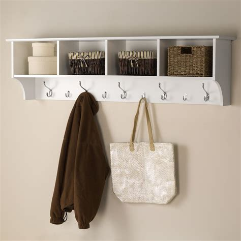 Wall Mounted Coat Hooks With Shelf by Prepac 60 In Wall Mounted Coat Rack In White Wec 6016