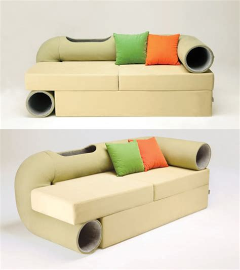 cat tunnel sofa gives cats more comfort than humans