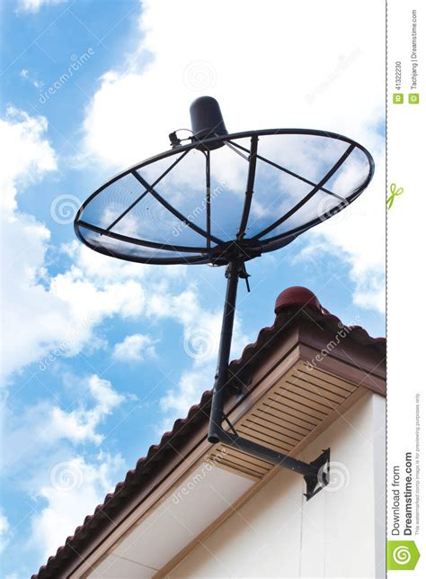 satellite dish  house roof stock photo image