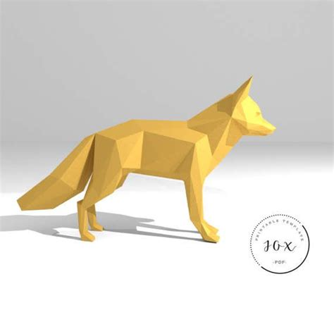 3d Origami Models - printable diy template pdf fox low poly paper model 3d