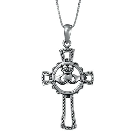 sterling silver claddagh cross necklace landing company