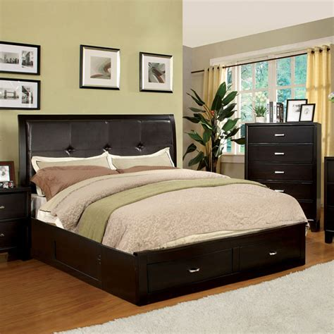 King Platform Bed With Storage Shop Furniture Of America Enrico Espresso California King