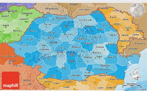 political map of romania political shades 3d map of romania
