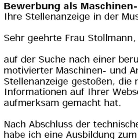 Bewerbung Anschreiben Muster Maschinenführer Bewerbung Maschinenf 252 Hrer In Ungek 252 Ndigt Vorlagen De