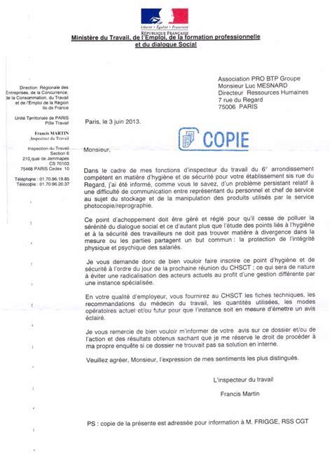 Exemple De Lettre De Démission Du Chsct Chsct Courrier Inspection Du Travail Le De La Cgt Pro Btp Regard