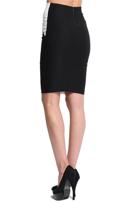 mogan colorblock high waisted pencil skirt in black and