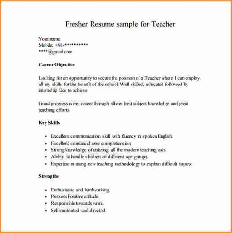 Sle Fresher Resume by Sle Resume For Fresher Teachers 28 Images 6 Resume Format For Fresher Musicre Sumed Resume