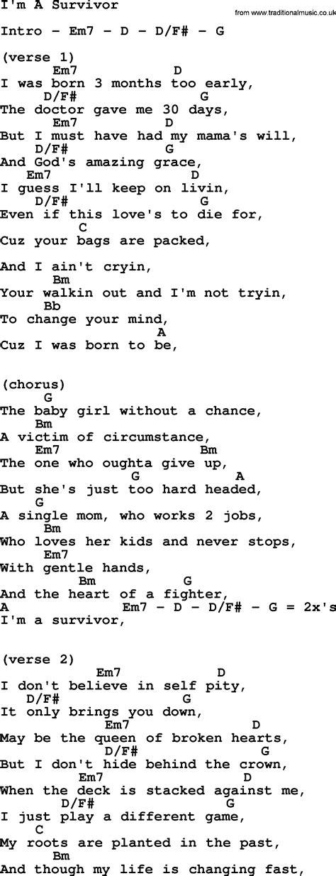 i m a lyrics i m a survivor by reba mcentire lyrics and chords